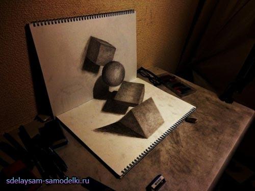 Xудожник Нагаи Хидеюки создает 3D рисунки