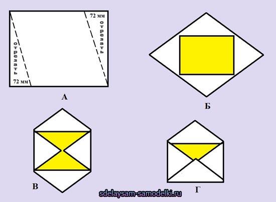 Схема конверта из квадратного